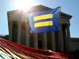 WASHINGTON, DC - APRIL 28:  Supporters of marriage equality gather outside the Supreme Court of the United States to demonstrate support for LGBT couples on April 28, 2015 in Washington, DC.  (Photo by Paul Morigi/Getty Images for HRC)