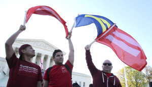 WASHINGTON, DC - APRIL 28:  Supporters of marriage equality gather outside of the Supreme Court of the United States to demonstrate their support for LGBT couples on April 28, 2015 in Washington, DC.  (Photo by Paul Morigi/Getty Images for HRC)